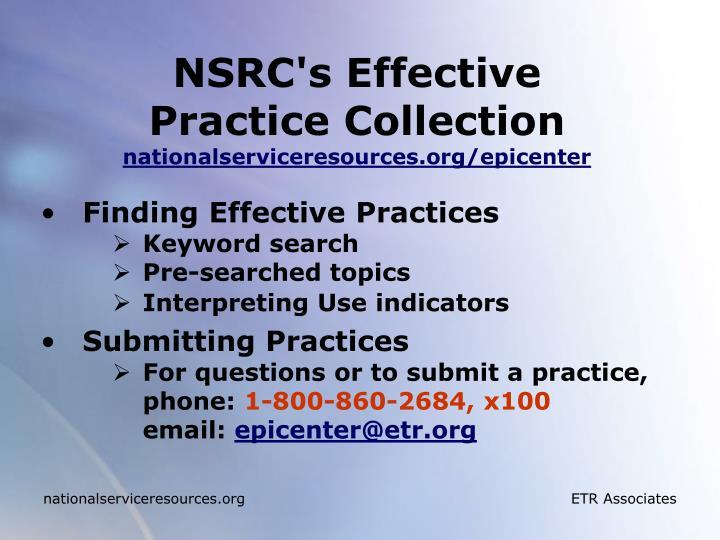 NSRC's Effective