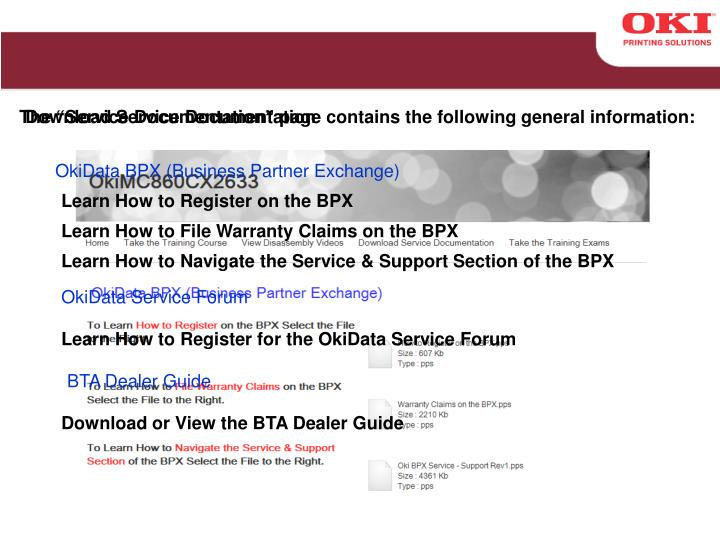"The ""Service Documentation"" page contains the following general information:"