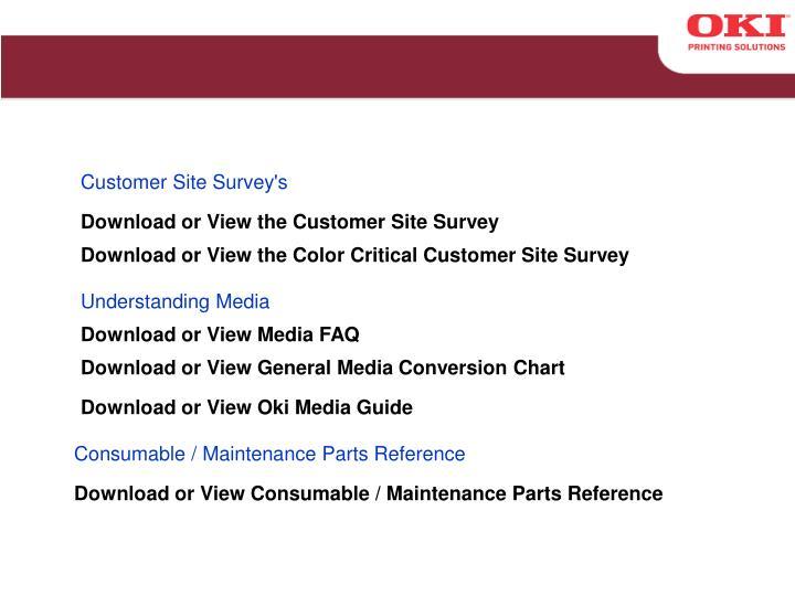 Customer Site Survey's