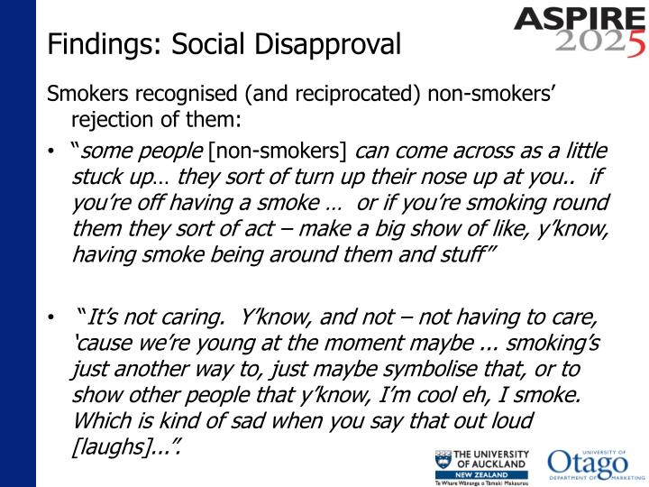 Findings: Social Disapproval