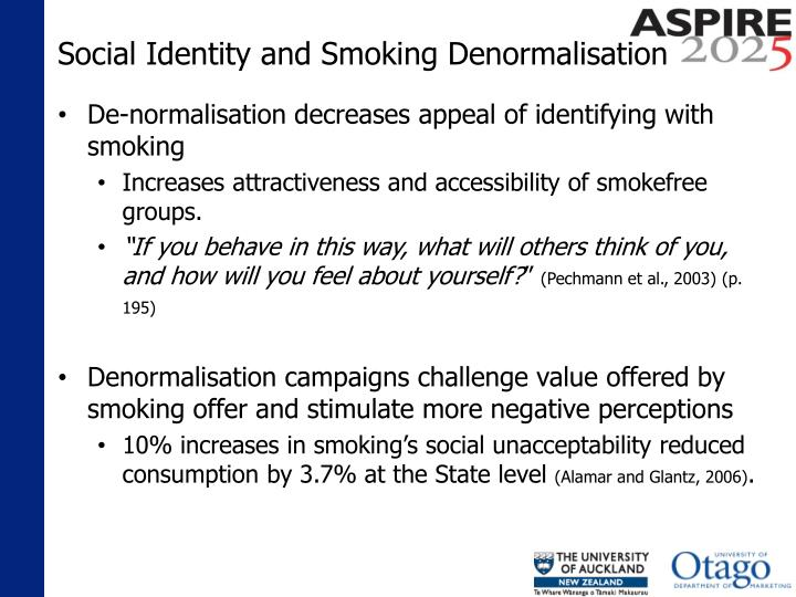 Social Identity and Smoking Denormalisation