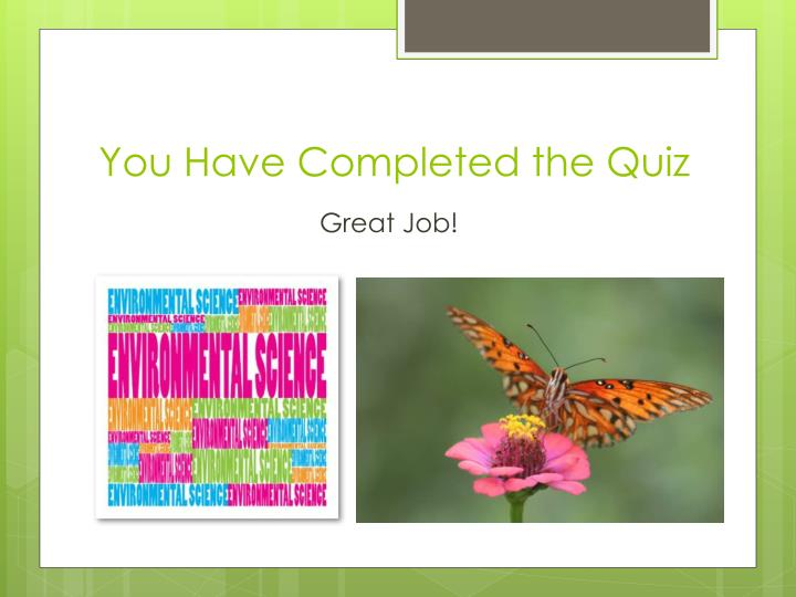 You Have Completed the Quiz
