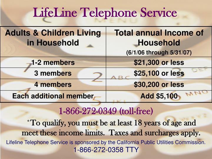 LifeLine Telephone Service