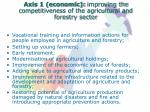 axis 1 economic improving the competitiveness of the agricultural and forestry sector