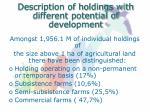 description of holdings with different potential of development