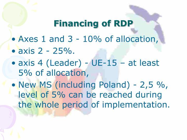 Financing of