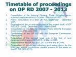 timetable of proceedings on op rd 2007 2013