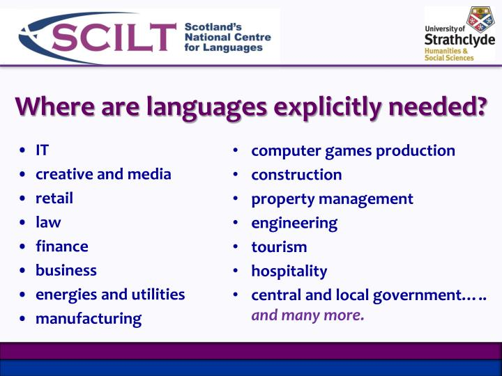 Where are languages explicitly needed?