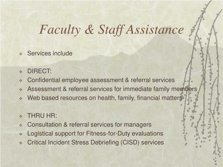 Faculty & Staff Assistance