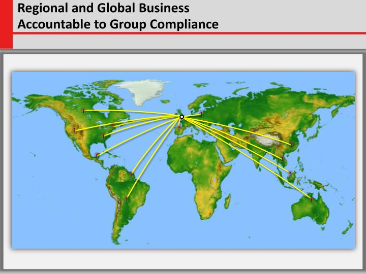 Regional and global business accountable to group compliance