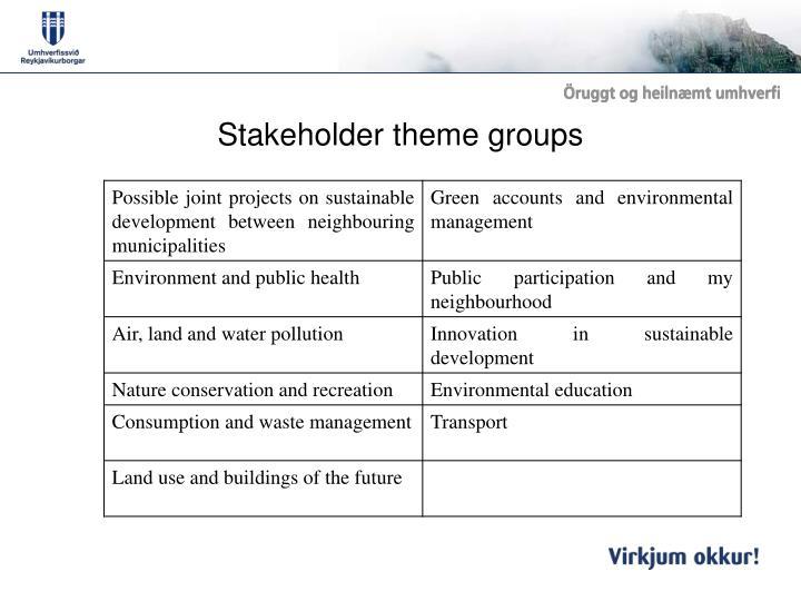Stakeholder theme groups