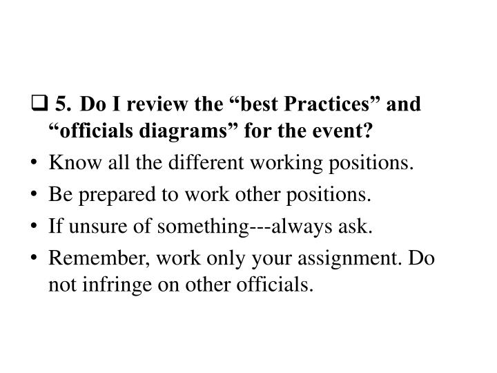 "5.Do I review the ""best Practices"" and ""officials diagrams"" for the event?"