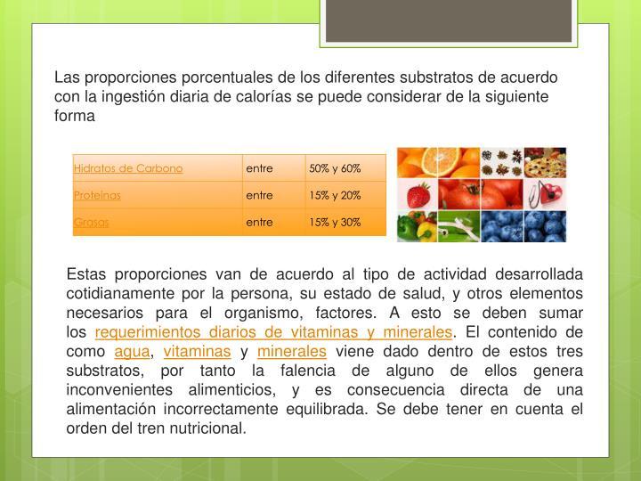 Las proporciones porcentuales de los diferentes substratos de acuerdo con la ingestión diaria de calorías se puede considerar de la siguiente forma
