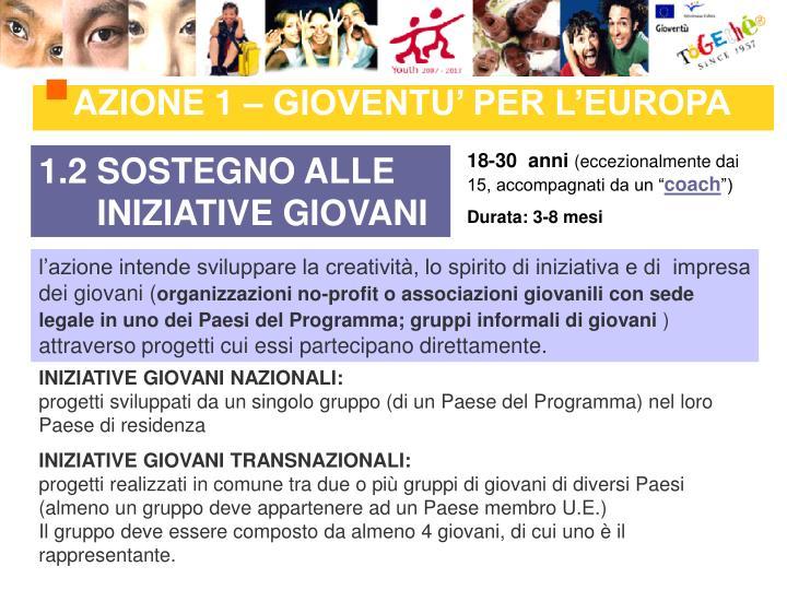 AZIONE 1 – GIOVENTU' PER L'EUROPA