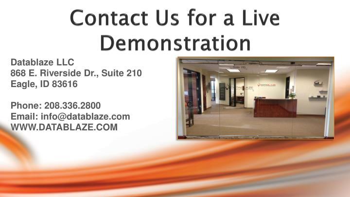 Contact Us for a Live Demonstration