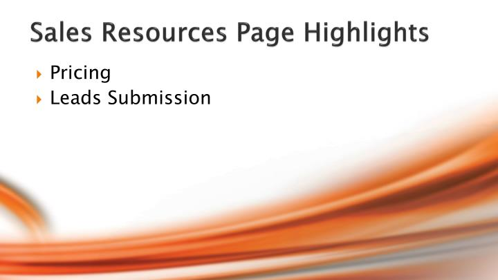 Sales Resources Page Highlights