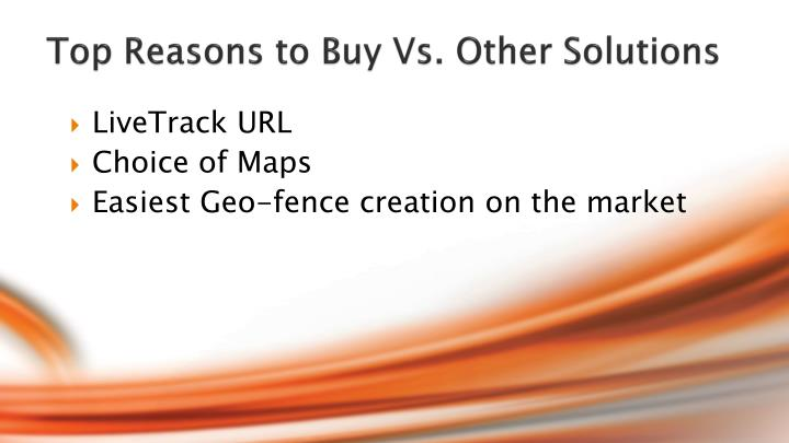 Top Reasons to Buy Vs. Other Solutions