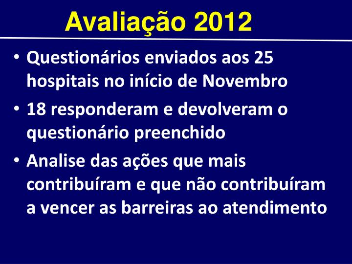 Avaliação 2012