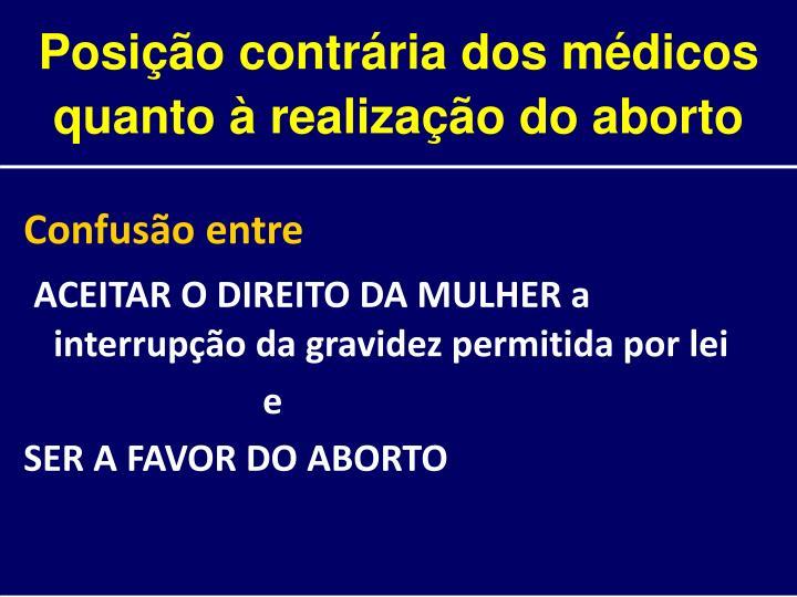 Posição contrária dos médicos quanto à realização do aborto
