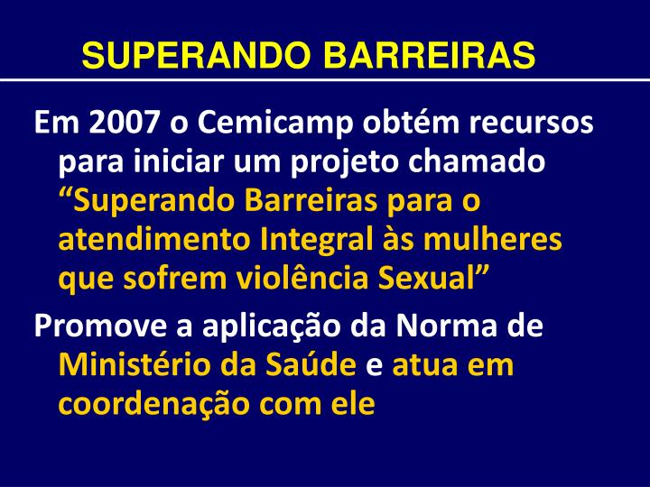 SUPERANDO BARREIRAS