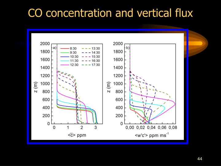 CO concentration and vertical flux
