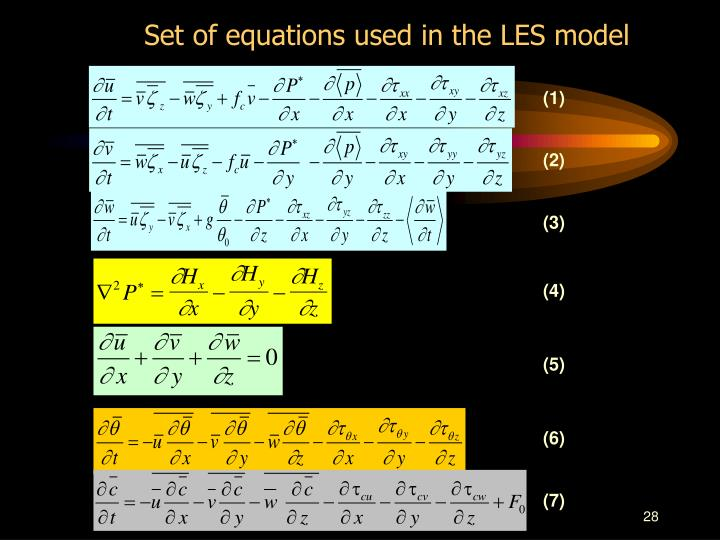 Set of equations used in the LES model