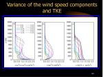 variance of the wind speed components and tke
