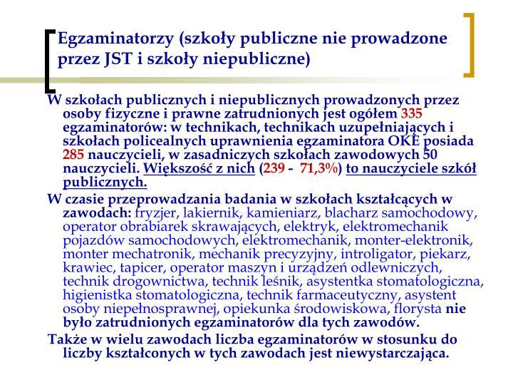 Egzaminatorzy (szkoły publiczne nie prowadzone przez JST i szkoły niepubliczne)
