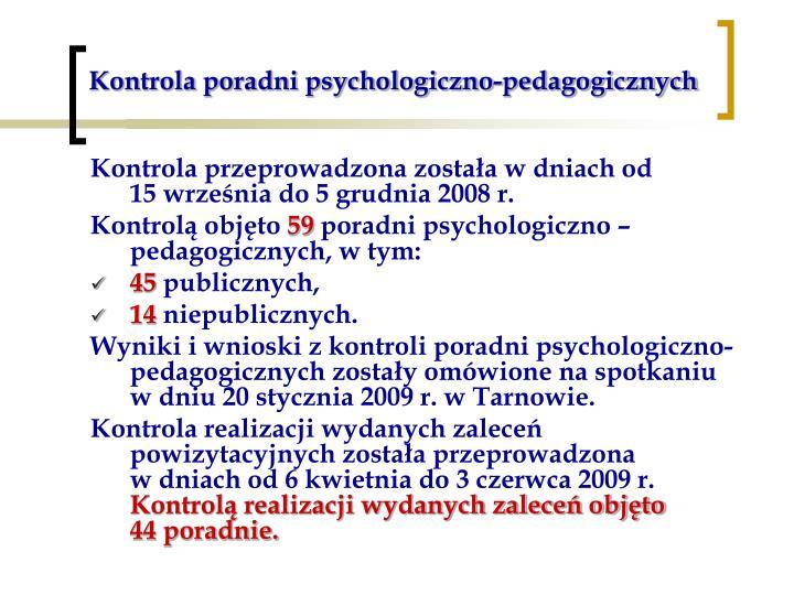 Kontrola poradni psychologiczno-pedagogicznych