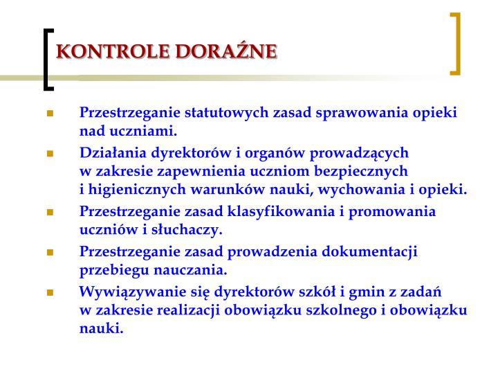 KONTROLE DORAŹNE
