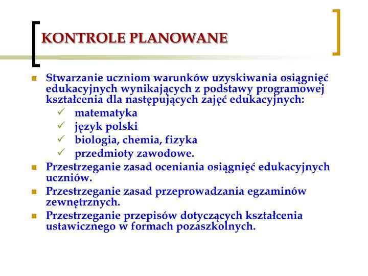 KONTROLE PLANOWANE