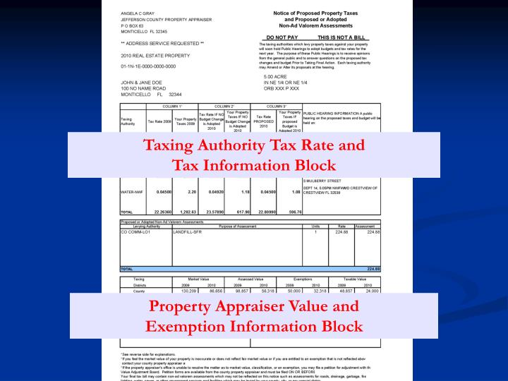 Taxing Authority Tax Rate and                                 Tax Information Block