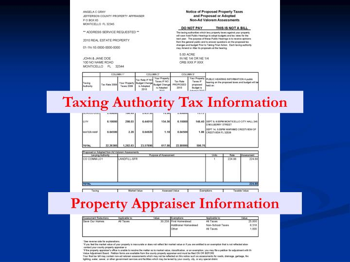 Taxing Authority Tax Information