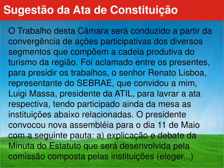 Sugestão da Ata de Constituição