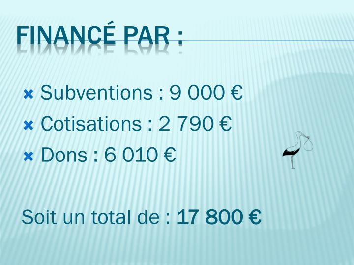 Subventions : 9 000 €