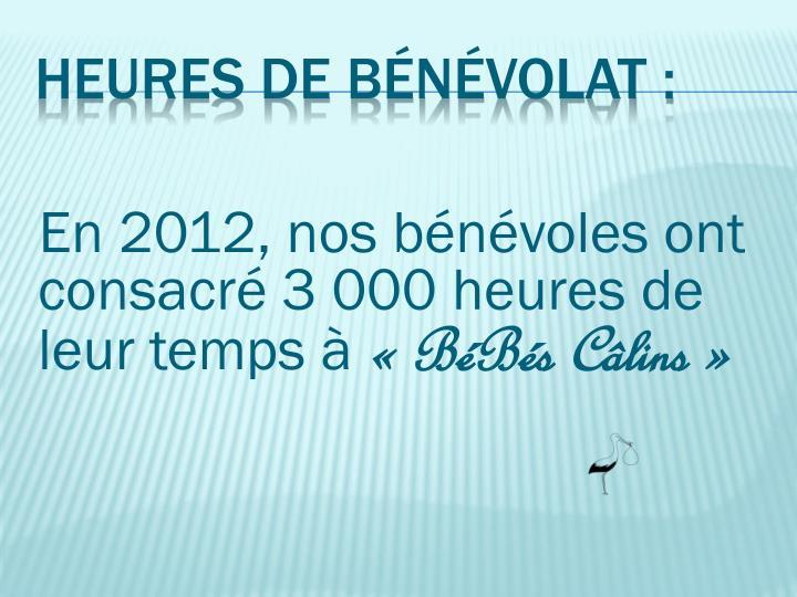 En 2012, nos bénévoles ont consacré 3 000 heures de leur temps à