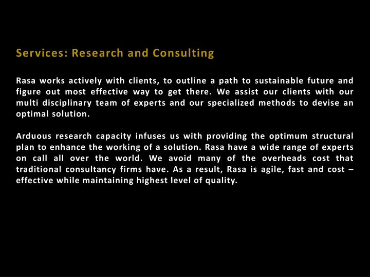 Services: Research and Consulting