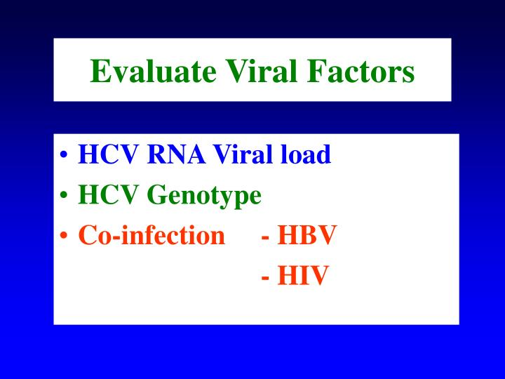 Evaluate Viral Factors