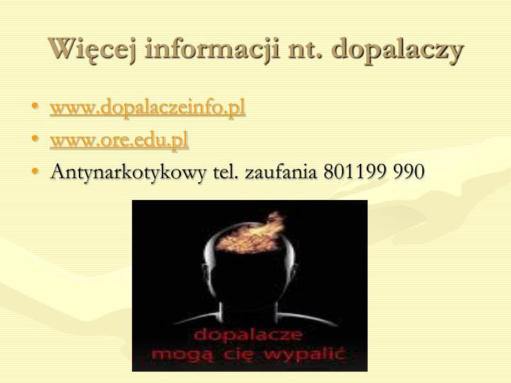 Więcej informacji nt. dopalaczy