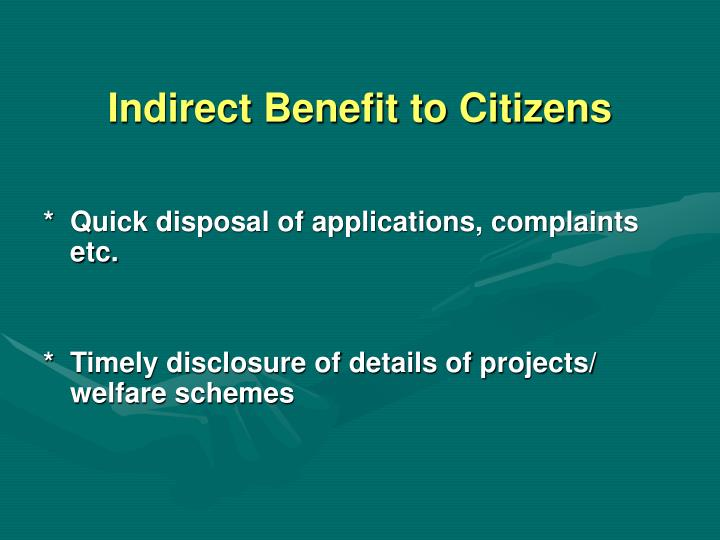 Indirect Benefit to Citizens