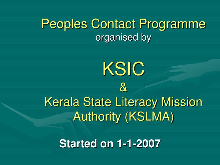 Peoples Contact Programme