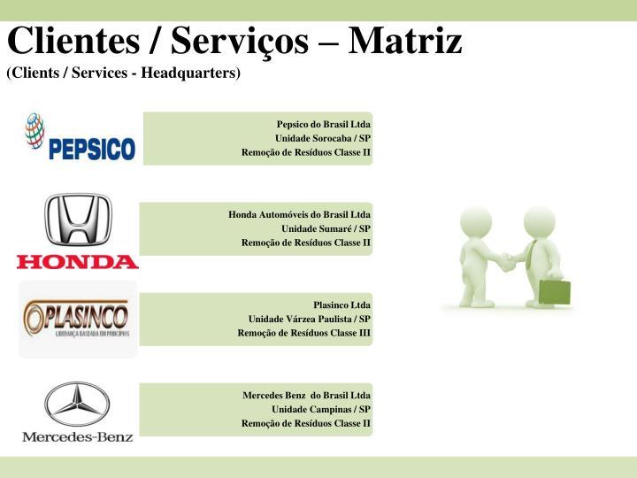 Clientes / Serviços – Matriz