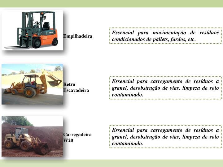 Essencial para movimentação de resíduos condicionados de