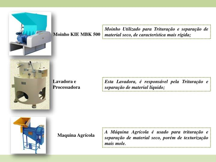 Moinho Utilizado para Trituração e separação de material seco, de característica mais rígida;