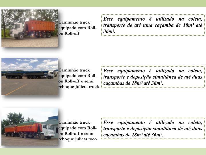 Esse equipamento é utilizado na coleta, transporte de até uma caçamba de 18m³ até 36m³.