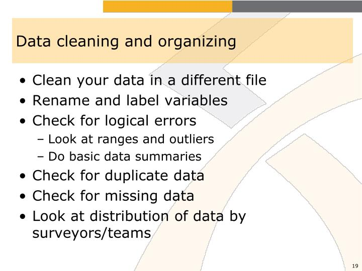 Data cleaning and organizing