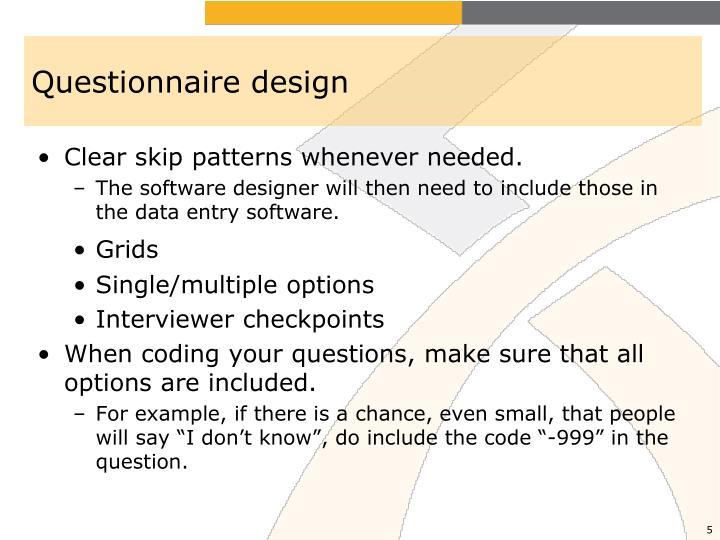 Questionnaire design