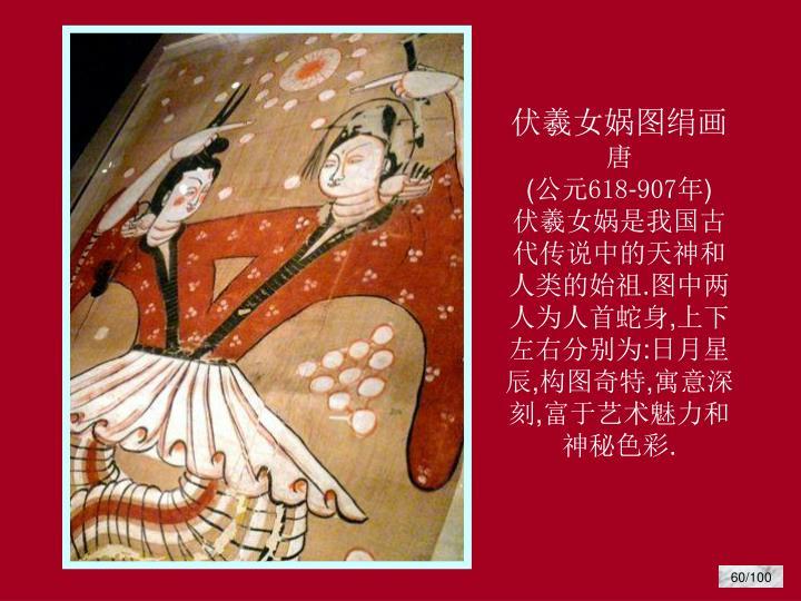 伏羲女娲图绢画