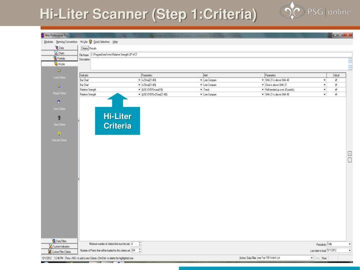 Hi-Liter Scanner (Step 1:Criteria)