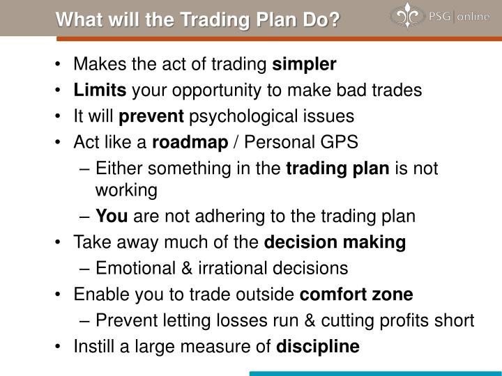 What will the Trading Plan Do?